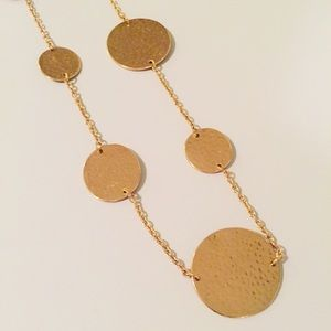 Gold Disc Rosary Necklace